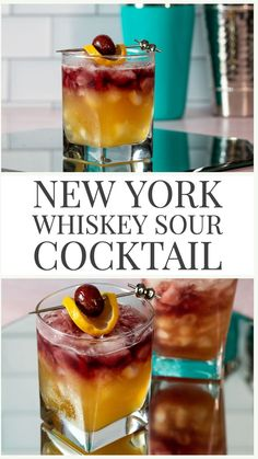 New York Whiskey Sour Cocktail - - The New York Sour Cocktail is a fun twist on a classic whiskey sour! Just add a red wine float to your whiskey sour and you are good to go! Fruity, sweet and sour! Bourbon Cocktails, Easy Cocktails, Cocktail Recipes, Cocktails With Wine, Dinner Recipes, Liquor Drinks, Whiskey Drinks, Alcoholic Drinks, Bartender Drinks