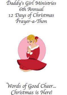 Did you hear?!? Our 6th Annual #12Days of #Christmas #Prayer-a-Thon starts one week from TODAY!  This year's theme is: Words of Good Cheer! So excited for you to see what that means!  Mark your calendars and join us – December 1st-12th. #Prayer #Praise #Contests #Prizes #Giveaways #Friendship #Fun #Ministry #DGMPrayerAThon   www.tinyurl.com/2015PrayerAThon