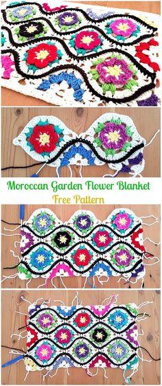 Crochet Moroccan Garden Flower BlanketFree Pattern - Crochet Christmas Blanket Free Patterns