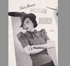 Vintage Knitting Pattern 1930's Sweater and Hat