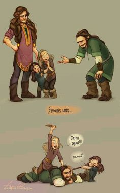 Thorin, Kili, Fili, and Dis.