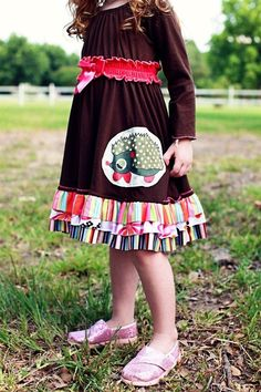 Twirls and Twigs - All Mixed Up Homespun Dress With Hedgehog Applique