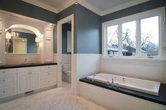 Traditional Master Bathroom using Benjamin Moore Paint (VanCourtland Blue). Built by Cameo Homes Inc. in Utah.