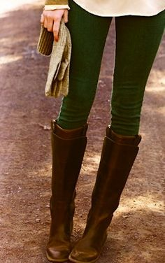 forest green skinnies & boots. So amazing... If only i could find colored skinnies that look good on me.