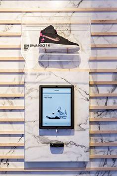 f326ca96e7c Nike SNKRS XPRESS NYC | Sole Collector Shoe Display, Display Design, Shop  Interior Design