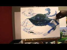 If you are interested in learning how to paint a blue crab using a palette knife with acrylic paint. This video is for you. Click here-----  http://www.painting-with-a-palette-knife.com/2012/07/07/crab-painting-…-acrylic-paint/