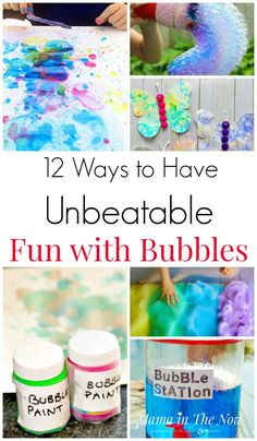 12 Ways to Have bubble fun. Bubble fun for kids. Summer outdoor activities for kids. Ideas for play with bubbles for kids. fun for toddlers 12 Ways to Have Unbeatable Fun with Bubbles Bubble Activities, Outdoor Activities For Kids, Infant Activities, Family Activities, Outdoor Fun For Kids, Bubble Games, Steam Activities, Science Activities, Summer Crafts