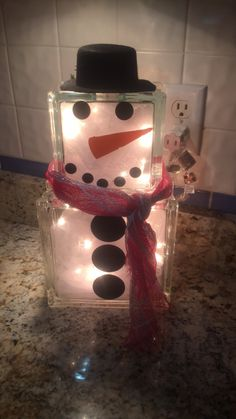 Snowman glass block. Selling for 45!