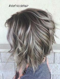 Silver ombre hair in Bolivar, MO - Balayage Haare Blond Kurz Silver Ombre Hair, Silver Hair Colors, Silver Blonde, Gray Hair Color Ombre, Grey Hair Colors, Brown And Silver Hair, Grey Brown Hair, Short Silver Hair, Bob Hair Color