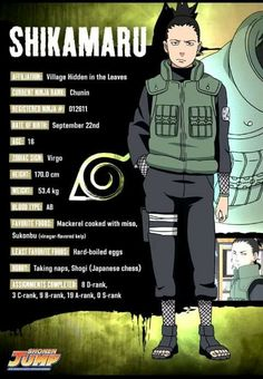 Shikamaru Nara Basic Info ♥♥♥ #Shippuden #Genius #Team10