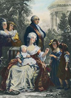 Marie Antoinette at Petite Trianon - This is a family print with newly born Dauphin Louis Joseph in the lap of M.A., and Louis XVI behind her, and Madame Campan, M.A.'s lady in waiting, is to the very far left, and Marie Therese, AKA Madame Royal is to M.A.'s right, and a servants child in front of Madam Royal. M.A. loved children. The women in the gold dress next to Madame Campan is likely the Princess de Lamballe, M.A.'s favorite when she was the Dauphine.
