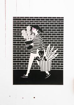 This is a hand–pulled two–colour screenprint on Somerset paper in navy and neon pink ink. The actual image measures 27.5 x 37cm ( ~11 x 14.5 ) and