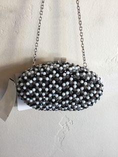 black leather gold studded computer totes or handbags on amazon or ebay | Sondra Roberts Oval Bead Minaudiere Clutch | What's it worth