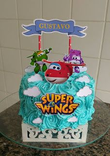 Bolo Superwings, Cupcake Toppers Free, Planes Birthday, Meringue Cookies, Superhero Party, 3rd Birthday Parties, Cake Smash, Party Themes, Cake Decorating
