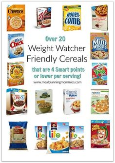 Over 20 Weight Watchers friendly cereals that are all 4 smart points or less per serving.  http://www.mealplanningmommies.com/list-of-cereals-that-are-low-in-weight-watcher-smart-points/ #weightlossmotivation