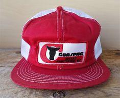 8ed9eb6ddff71 Vintage 80s COASPAC MEATS Mesh Trucker Hat K Brand Canada Snapback Baseball  Cap