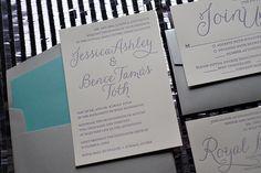 Silver and Tiffany Letterpress Wedding Invitations