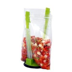 Ziplock bag holder.  Holds the bag open and upright.  Just like having an extra set of hands!