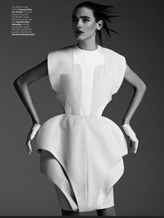 Fabio Bartelt S/S 2013 - inspired by Greek bell shaped skirt that was fitted at the waist and shows a line down the center of women's skirt. (V shaped)