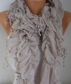Beige Ruffle Cotton ScarfSpring Summer Scarf Cowl Scarf Gift