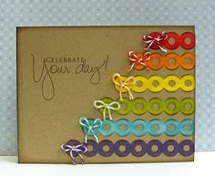Rainbow idea with die cut strips.  Gonna try this with strips of paper cut into pennant shapes.  Looks so easy.