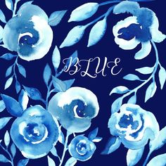 Blue Watercolor flower clipart, Digital clipart hand drawn Blue. Romantic wedding, tender peony, pink flowers for cards, invitations