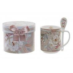 Porcelán bögre rózsás díszdobozban Sugar Bowl, Bowl Set, Mugs, Tableware, Dinnerware, Tumblers, Tablewares, Mug, Dishes