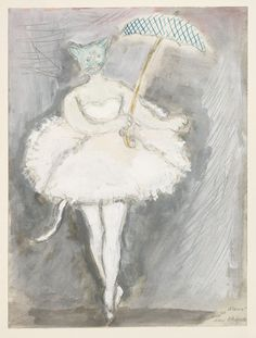 A Cat Costume design for the ballet Aleko   pencil drawing, with gouache and watercolor painting   Marc Chagal