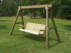 You need porch swing stand plans in building a porch swing. it will make you easily create your favorite porch swing Wooden Swing Frame, Porch Swing Frame, Outdoor Wooden Swing, Porch Swing With Stand, Wooden Swings, Outdoor Benches, Outdoor Hammock, Porch Swings, Patio Swing Set