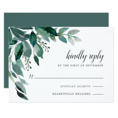 Abundant Foliage RSVP Card - winter gifts style special unique gift ideas