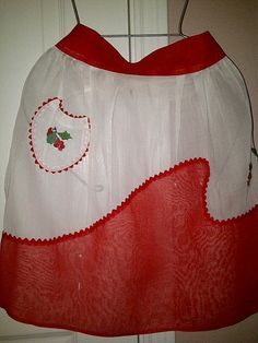Vintage Sheer Holiday Snow Apron with Holly by maggiecastillo, $5.50