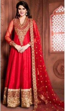Deep Scarlet Color Silk Long Anarkali Style Churidar Kameez | FH499276408 #anarkali , #salwar , #kameez , #dresses , #suits , #designer , #colors , #pinterest , #Shopping , #fashion , #boutique , #online , #heenastyle , #indian , #style , @heenastyle , #churidar , #likes , #abaya , #pakistani, #clothing , #womens , #mens , #kids , #boys , #girls