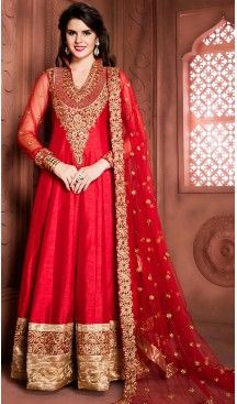 Deep Scarlet Color Silk Long Anarkali Style Churidar Kameez   FH499276408 #anarkali , #salwar , #kameez , #dresses , #suits , #designer , #colors , #pinterest , #Shopping , #fashion , #boutique , #online , #heenastyle , #indian , #style , @heenastyle , #churidar , #likes , #abaya , #pakistani, #clothing , #womens , #mens , #kids , #boys , #girls