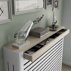 Modern Floating White Radiator Heater Cover NORDIC design with one or two wooden drawers 40 to / Metal Radiator Covers, Radiator Heater Covers, Modern Radiator Cover, Radiator Shelf, Radiator Ideas, Wall Heater Cover, Best Radiators, Old Radiators, Panel Radiators