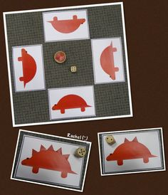 "Dinosaur counting and number recognition game (free printable) from Rachel ("",)"