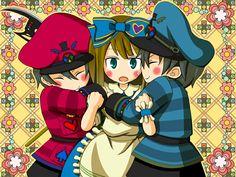 Tweedle dum & dee and alice chibi 2 Alice Anime, Otaku Issues, Alice Liddell, Traditional Stories, Alice Madness Returns, Anime Chibi, Minnie Mouse, Wonderland, Kawaii