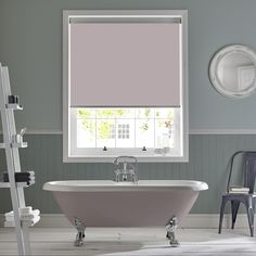 Bathroom roller blind in Palette Dusk from Style Studio. Ultra violet colour inspiration. Decorating with Ultra Violet - Pantone colour of the year 2018. Purple / pink / mauve home decor inspiration. Window blinds. Bathroom blinds. Roller blinds. Violet blinds.