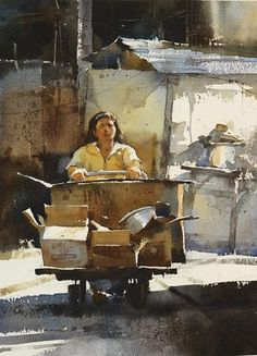 Chien Chung-Wei 【明天會更好 / Tomorrow will be better 】Watercolour.By Chien Chung… Watercolor Artists, Watercolor Portraits, Watercolor Landscape, Watercolor And Ink, Watercolor Illustration, Watercolour Painting, Watercolours, Paintings I Love, Tour Eiffel