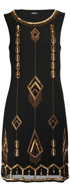fashion trend - black and gold art deco dress 1920 Fashion Trends, 20s Fashion, Fashion Mode, Art Deco Fashion, Fashion History, Vintage Fashion, Womens Fashion, Gold Fashion, Trendy Fashion