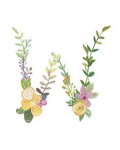 W - illustrazione lettera floreale - Floral tipografia stampa