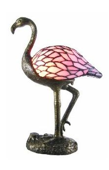 Stained Glass Pink Flamingo Accent Table Lamp