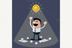 Businessman with Ideas. Happy Funny by robuart on Creative Market