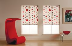Beautiful quality, made-to-measure roller blinds at fantastic prices. Blackout blinds, lace blinds and more, all with child-safety attachments. Holiday Decor, Roller Blinds, Color Splash, Decor, Color, Blinds, Valance Curtains, Red Decor, Home Decor