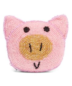 Look at this Pink Pig Hand-Beaded Coin Purse on #zulily today!