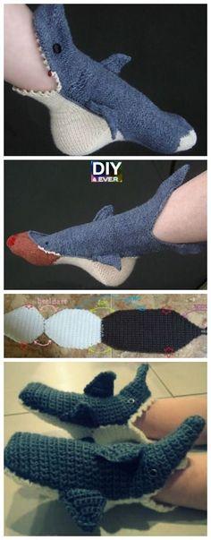 Crochet Shark Slippers Free Pattern #freepattern