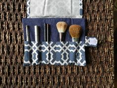 Make Up Brush Case/Wallet/Roll with Monogram A by CraftyStitches, $35.00