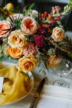 Warm fall wedding centerpiece vibes with this arrangement full of mustard yellow camel roses, Juliet garden roses, agonis and plum scabiosa! Photo: Genevieve Renee Photographie Featured in Rocky Mountain Bride Magazine Flowers: Flowers by Janie Mustard Wedding Theme, Mustard Yellow Wedding, Yellow Wedding Colors, Yellow Weddings, Fall Wedding Centerpieces, Fall Wedding Cakes, Fall Wedding Flowers, Wedding Bouquet, Wedding Table