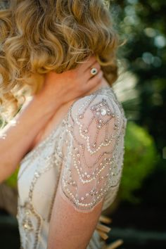 Art Deco gown detailing - love but might be a little too gatsby for me Wedding Dress Sleeves, Wedding Gowns, Dresses With Sleeves, Cap Sleeves, Art Deco Wedding Dress, Lace Wedding, Modest Wedding, Shift Wedding Dress, Conservative Wedding Dress