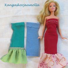 ompele barbille mekko ilman kaavoja Barbie Organization, Sewing Barbie Clothes, Barbie Accessories, Baby Born, Cute Drawings, Strapless Dress, Dyi, Dresses, Fashion