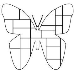 Vlinder kleurplaat Mondriaan. Inkleuren met zwart, geel, r